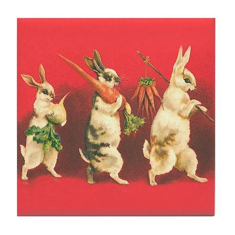 Vintage Rabbits Tile Coaster