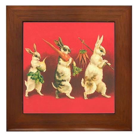 Vintage Rabbits Framed Tile