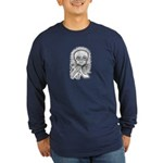 B&W Skull Long Sleeve Dark T-Shirt