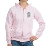 B&W Skull Women's Zip Hoodie