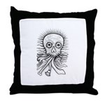 B&W Skull Throw Pillow