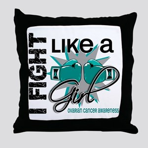 Licensed Fight Like A Girl 13.1 Ovari Throw Pillow