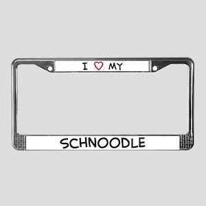 I Love Schnoodle License Plate Frame