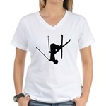 Freestyle Skiing Women's V-Neck T-Shirt