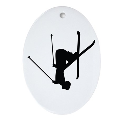Freestyle Skiing Ornament (Oval)