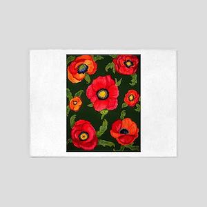 Fiery Poppies 5'x7'Area Rug
