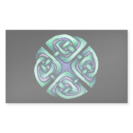 Celtic Blue Circle Sticker (Rectangle)