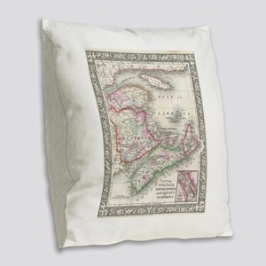 Vintage Nova Scotia and New Br Burlap Throw Pillow
