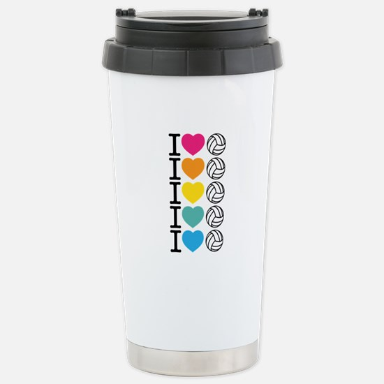 I Heart Volleyball Stainless Steel Travel Mug