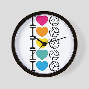 I Heart Volleyball Wall Clock