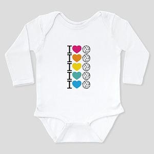 I Heart Volleyball Long Sleeve Infant Bodysuit