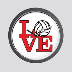 Volleyball Love - Red Wall Clock