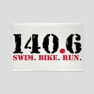 140.6 Swim Bike Run Rectangle Magnet