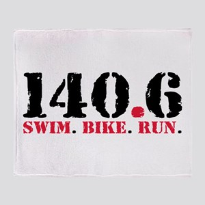 140.6 Swim Bike Run Throw Blanket
