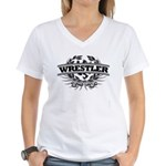Wrestler, college style Women's V-Neck T-Shirt
