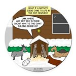 Live Yard Nativity Round Car Magnet