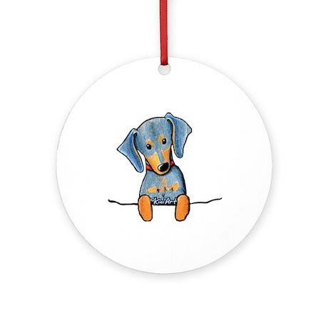 Black Pocket Dachsie Ornament (Round)