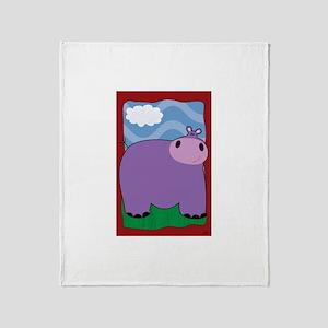 Friendly Hippopotomus Throw Blanket