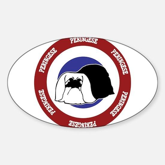 Pekingese Bullseye Sticker (Oval)