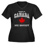 Canada Hockey Women's Plus Size V-Neck Dark T-Shir