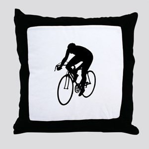 Cycling Silhouette Throw Pillow
