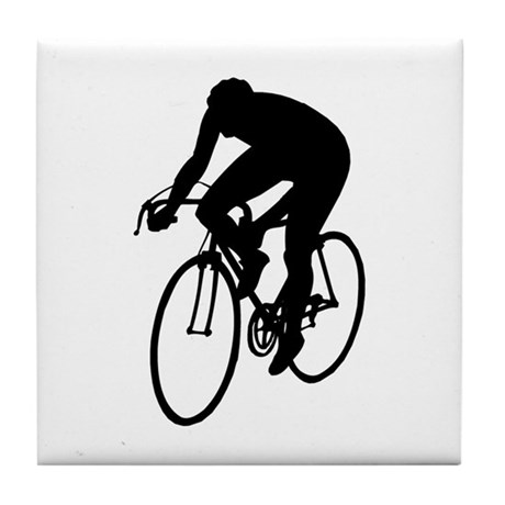 Cycling Silhouette Tile Coaster