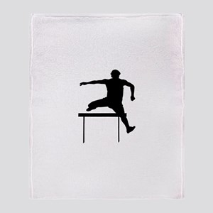Hurdler Silhouette Throw Blanket