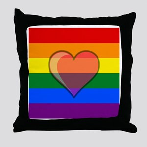 Rainbow Flag with Heart Throw Pillow