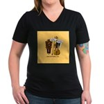 mrfiddlewear Women's V-Neck Dark T-Shirt