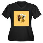 mrfiddlewear Women's Plus Size V-Neck Dark T-Shirt