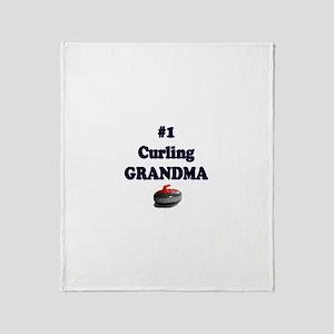 #1 Curling Grandma Throw Blanket