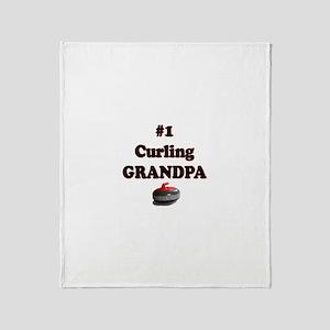 #1 Curling Grandpa Throw Blanket