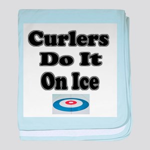 Curlers Do It On Ice baby blanket
