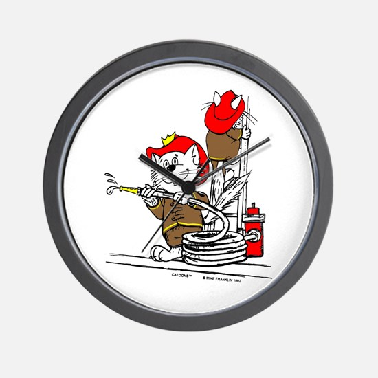 Firefighter Cat Wall Clock