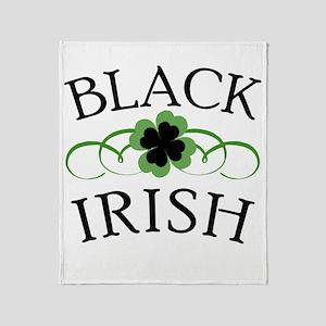 Black Irish with Fancy Shamrock Throw Blanket