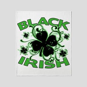 Black Shamrocks Black Irish Throw Blanket