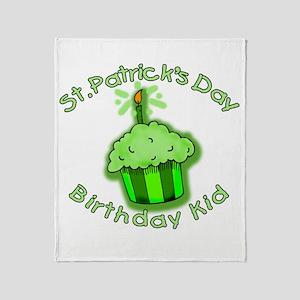 St Patricks Day Birthday Kid Throw Blanket