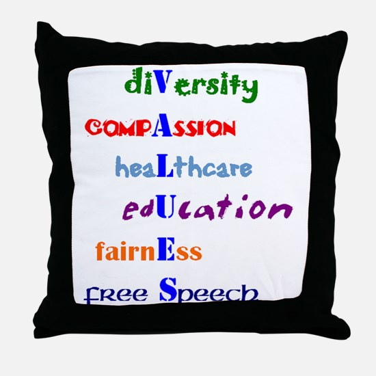 Liberal Moral Values Throw Pillow