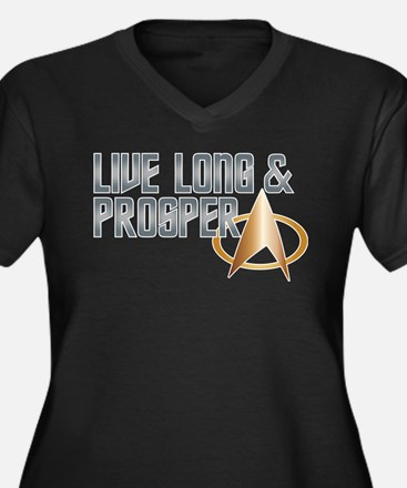 LIVE LONG & PROSPER Women's Plus Size V-Neck Dark