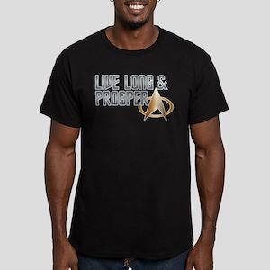 LIVE LONG & PROSPER Men's Fitted T-Shirt (dark)