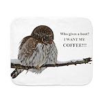 Coffee Owl Sherpa Fleece Throw Blanket