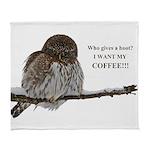 Coffee Owl Arctic Fleece Throw Blanket