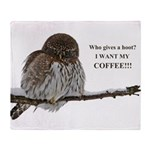 Coffee Owl Plush Fleece Throw Blanket