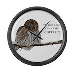 Coffee Owl Large Wall Clock