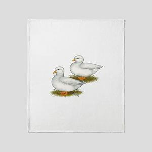 White Call Ducks Throw Blanket