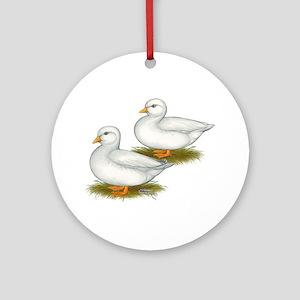 White Call Ducks Ornament (Round)