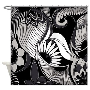 Black Art Deco Shower Curtains