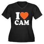 Cam Love Women's Plus Size V-Neck Dark T-Shirt