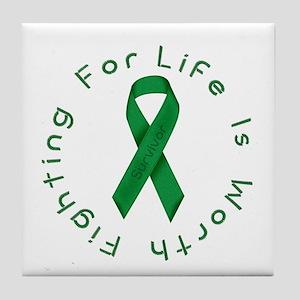 Green Ribbon - Survivor Tile Coaster