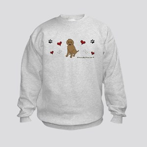 labradoodle chocolate Kids Sweatshirt